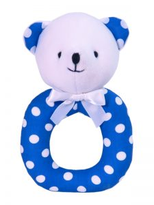Royal Polka Dot Bear Ring Rattle by Kate Finn Australia