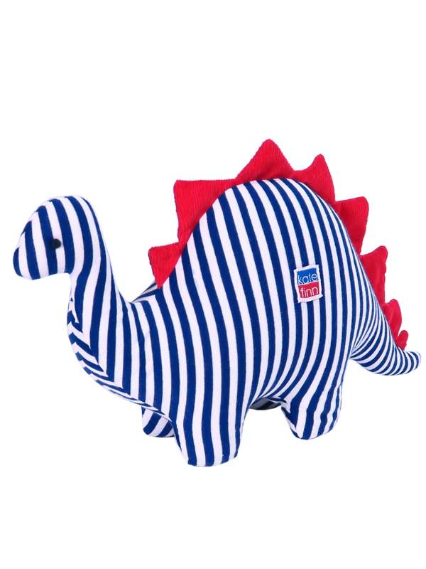 Navy Stripe Dinosaur Baby Toy by Kate Finn Australia