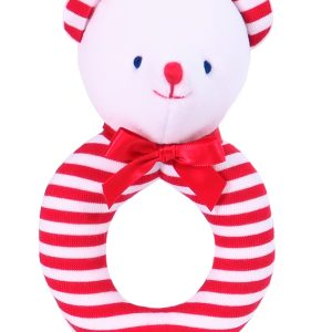 Red Stripe Bear Ring Rattle by Kate Finn Australia