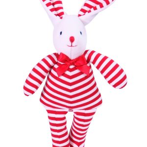 Red Stripe Bunny Squeaker Baby Toy by Kate Finn Australia