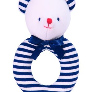 Navy Stripe Bear Ring Rattle by Kate Finn Australia