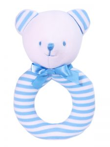 Blue Stripe Bear baby Ring Rattle by Kate Finn Australia