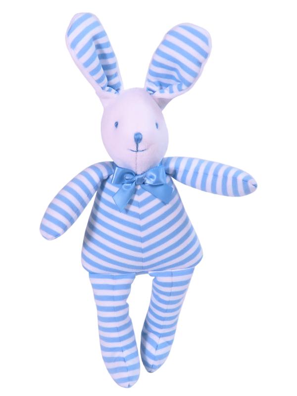 Blue Stripe Bunny Squeaker Baby Toy by Kate Finn Australia