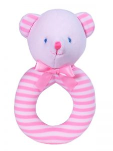 Pink Stripe Bear Baby Ring Rattle by Kate Finn Australia