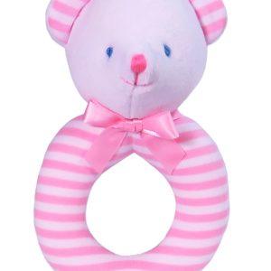 Pink Stripe Bear Baby Ring Rattle by Kate Finn Australia