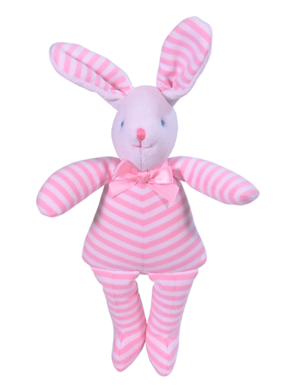 Pink Stripe Bunny Squeaker Baby Toy by Kate Finn Australia