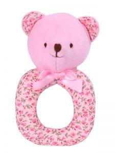 Rosebud Bear Baby Ring Rattle by Kate Finn Australia