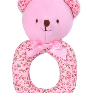 Rosebud Bear Baby Ring Rattle by Kate Finn Australia