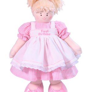 First Birthday 41cm Pink Stripe Blond