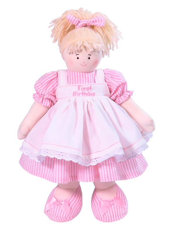 First Birthday 41cm Pink Stripe Blond