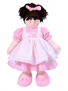 First Birthday 41cm Pink Stripe Brunette by Kate Finn Australia