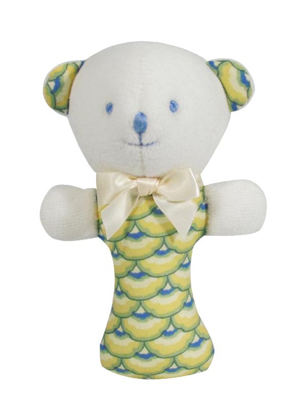 Yellow Scallop Bear Baby Rattle by Kate Finn Australia