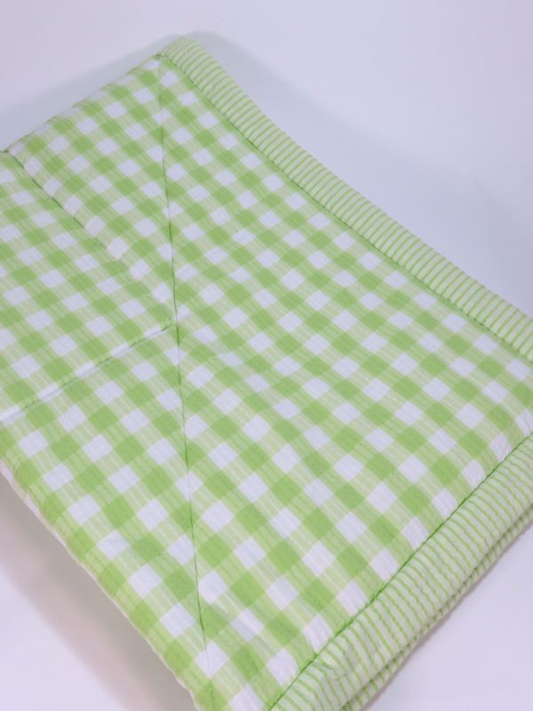 Lime Check Cot Quilt Designed by Kate Finn Australia