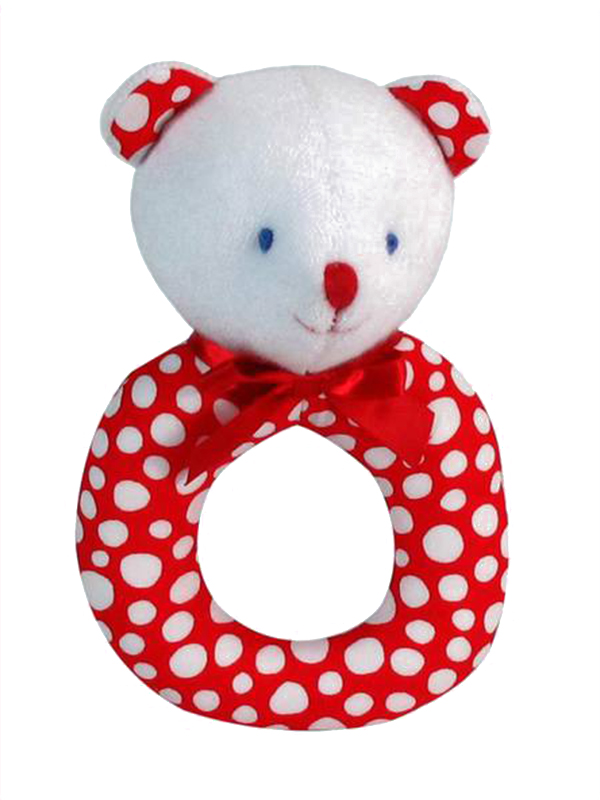 Red Snowball Bear Baby Ring Rattle by Kate Finn Australia