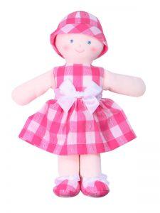 Minnie 21cm Rag Doll Lipstick Check Sold by Kate Finn