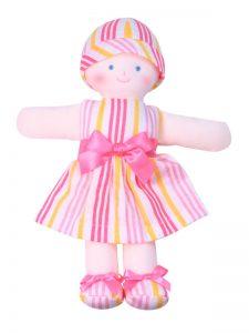 Minnie 21cm Rag Doll Peach Stripe Sold by Kate Finn