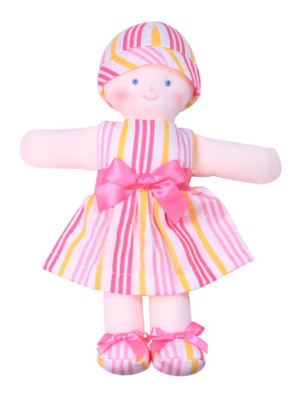 Minnie 21cm Rag Doll Peach Stripe Sold by Kate Finn