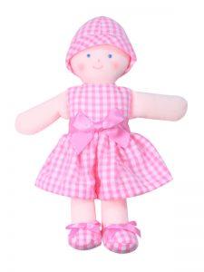 Minnie 21cm Rag Doll Pink Seersucker Check