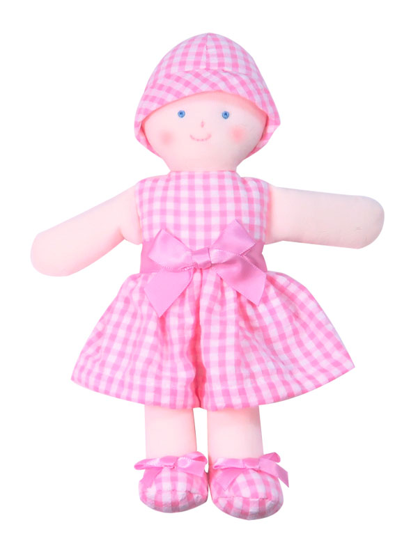 Minnie 21cm Rag Doll Pink Seersucker Check