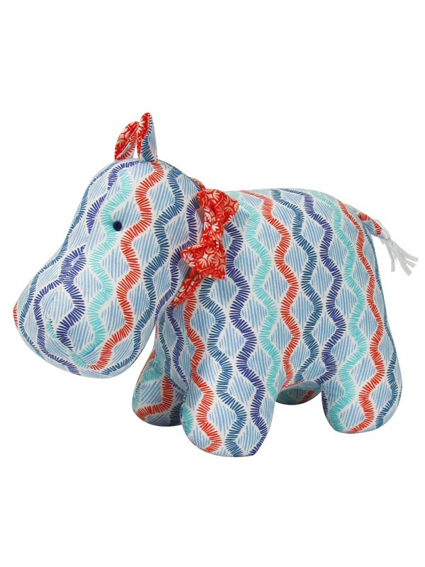 Wave Print Hippo Baby Toy by Kate Finn Australia