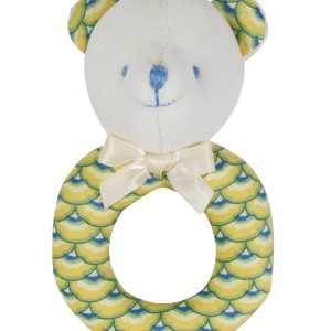 Yellow Scallop Bear Baby Ring Rattle by Kate Finn