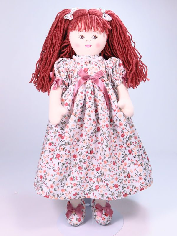 Floral 47cm rag Doll Designed and Sold by Kate Finn Australia