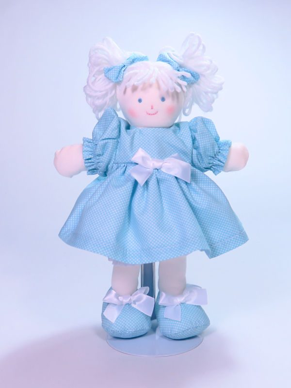 Mini Dottie 21cm Rag Doll Aqua Designed and Sold by Kate Finn Australia