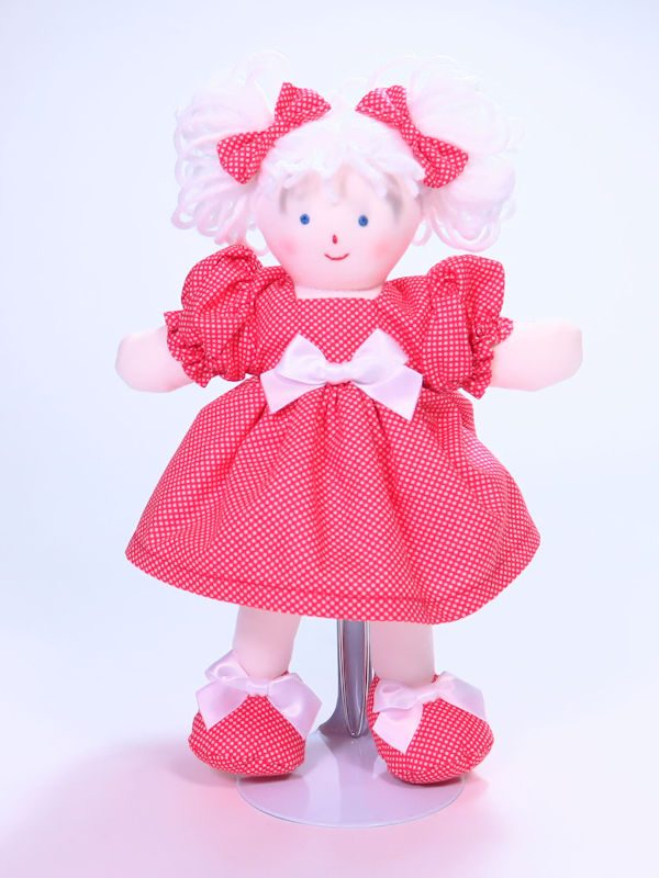 Mini Dottie 21cm Rag Doll Red Designed and Sold by Kate Finn Australia