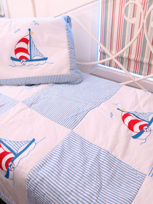 Sailboat Single Bed Quilt Designed by Kate Finn Australia