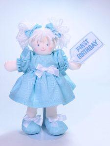 First Birthday 21cm Rag Doll Blue