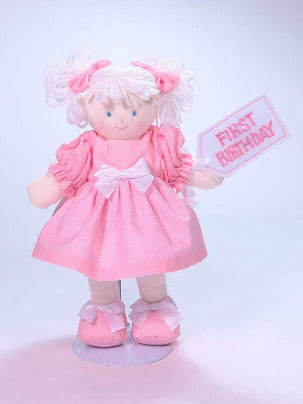 First Birthday 21cm Rag Doll Pink Designed by Kate Finn Australia