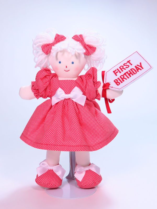 First Birthday 21cm Rag Doll Red Designed and Sold by Kate Finn Australia
