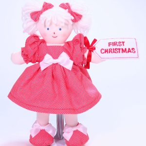 First Christmas 21cm Rag Doll Red Designed by Kate Finn Australia