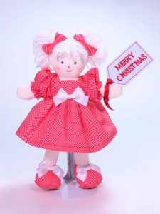 Merry Christmas 21cm Rag Doll Designed and Sold by Kate Finn Australia