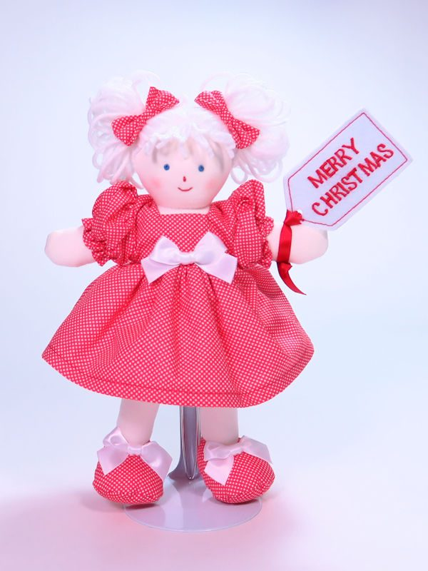 Merry Christmas 21cm Rag Doll Designed and Sold by Kate Finn Australia