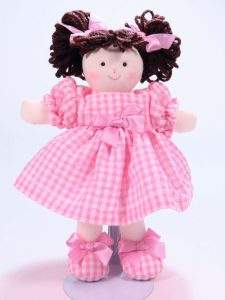 Mini Pen 21cm Rag Doll Brunette Designed and Sold by Kate Finn Australia