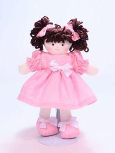Mini Dotties 21cm Rag Doll Brunette Designed and Sold by Kate Finn Australia