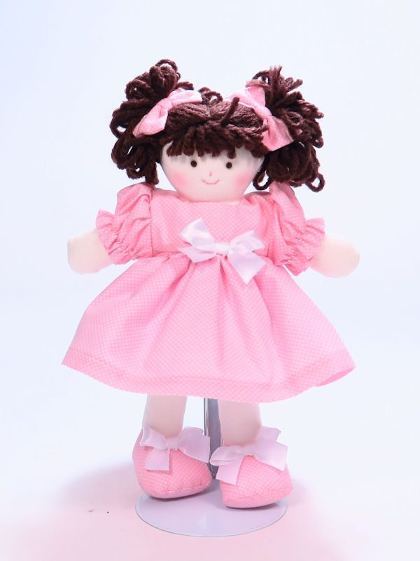Mini Dotties 21cm Rag Doll Brunette Designed and Sold by Kate Finn Australia