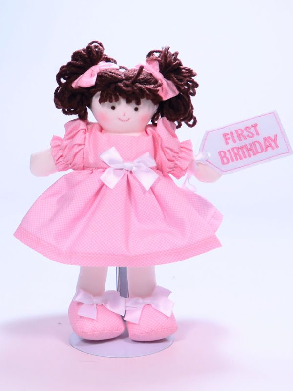 First Birthday 21cm Rag Doll Pink Brunette Designed and Sold by Kate Finn Australia